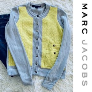 Marc by Marc Jacobs Neon Yellow Gray Cardigan M